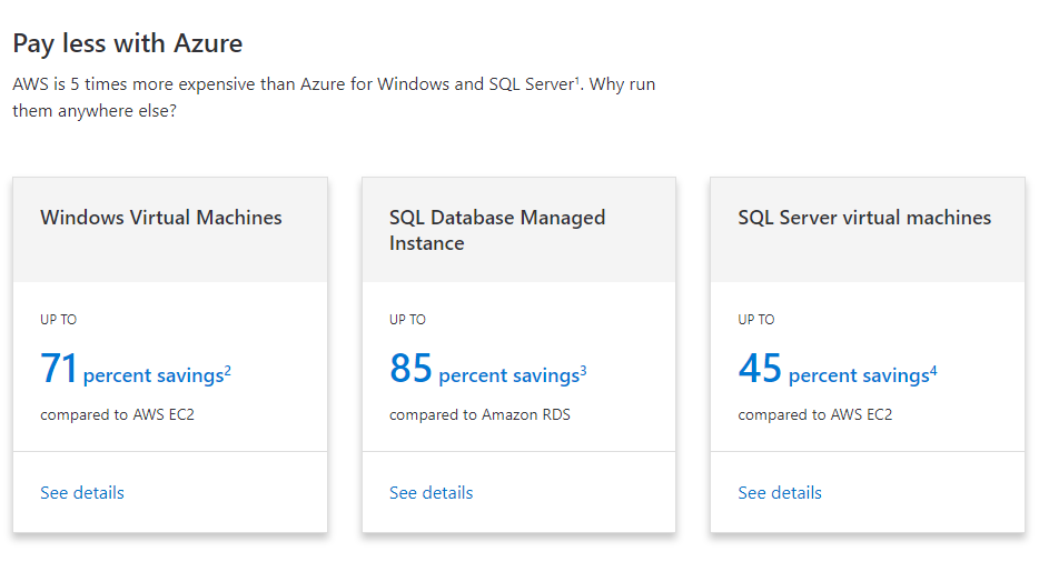 Azure marketing themselves as a cheaper and better alternative to AWS.