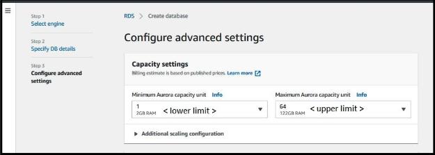 Configuration of Database Advanced Settings