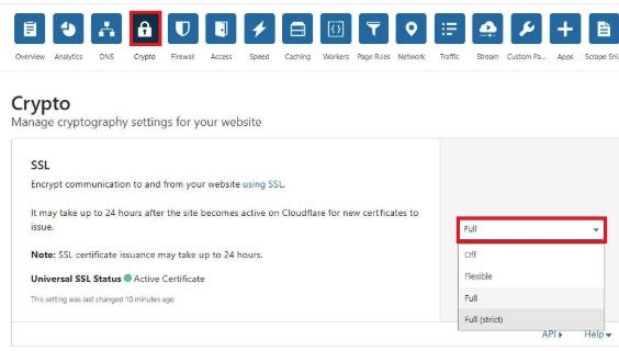 SSL Configuration in Cloudflare