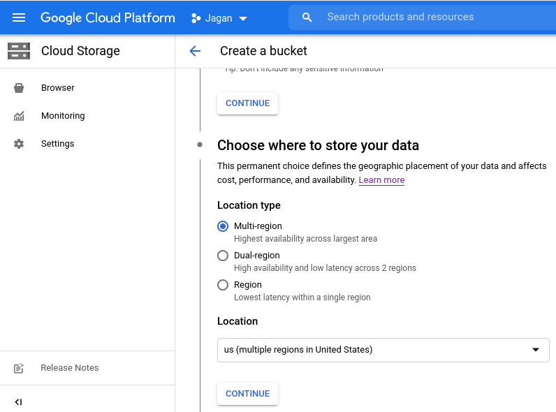 Cloud Storage locations