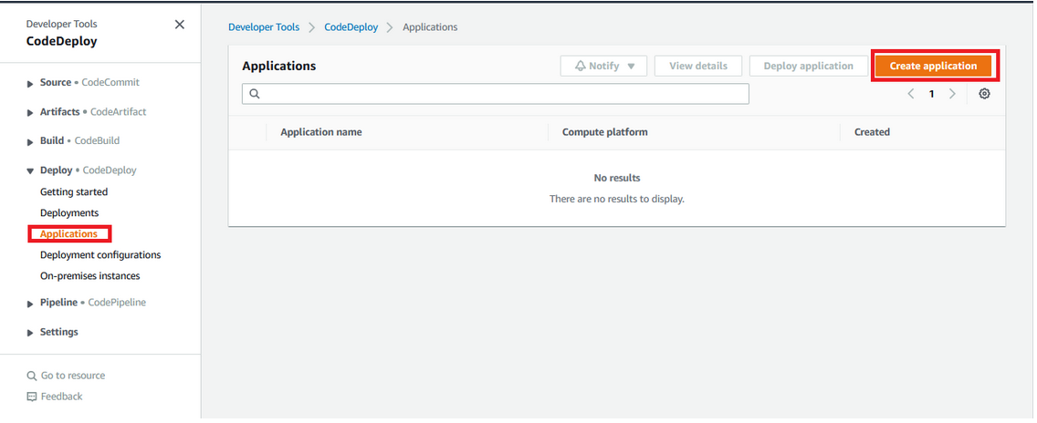Creating Codedeploy in AWS