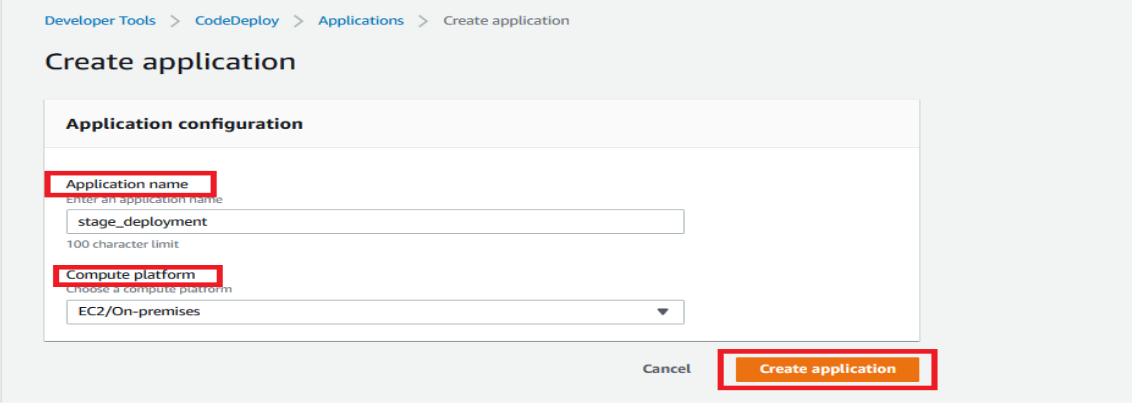 SAAS Codedeploy create application