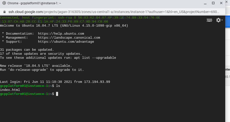 SSH in to the instance