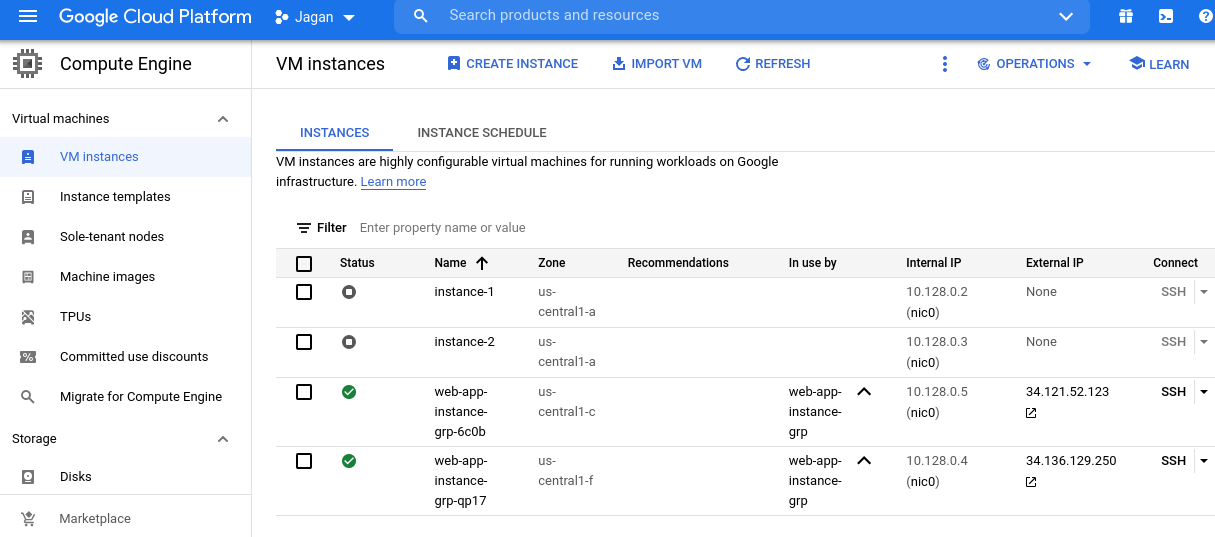 Instances from instance group