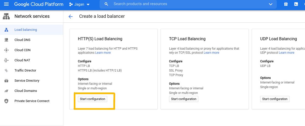 Selecting HTTP(s) Load Balancing