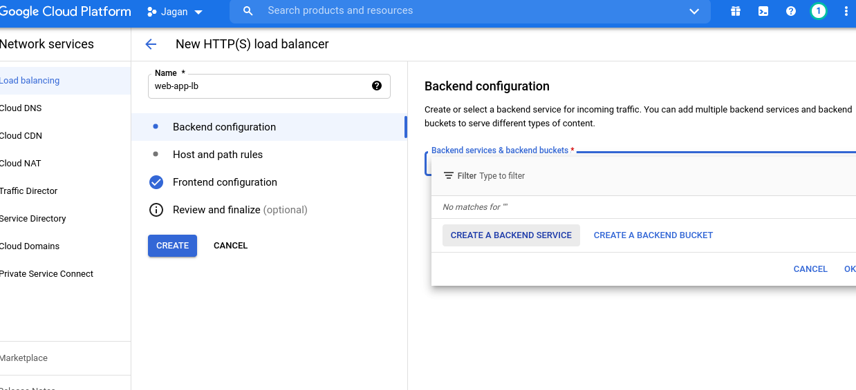 Backend service in Load balancer