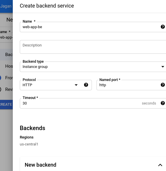 Creating the Backend service in Load balancer