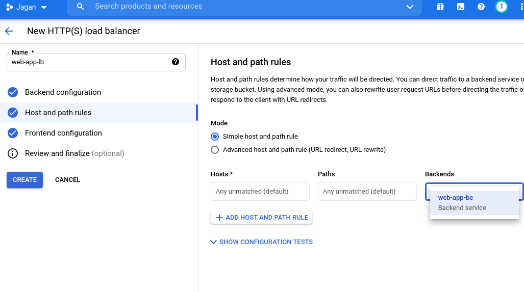 Configuring Host and Path rules