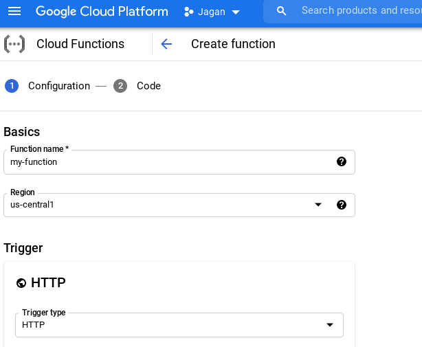 Creating a Cloud Functions