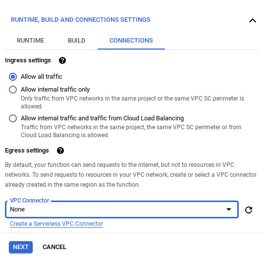 Allowing traffic in cloud function