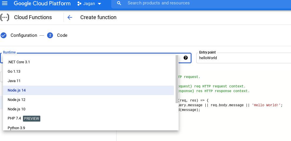 Choosing a Runtime in Cloud Functions
