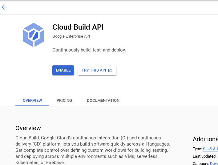 Enabling Cloud Build API