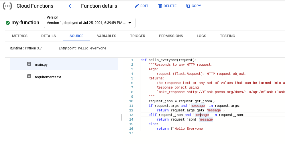 Exploring the source code in cloud function